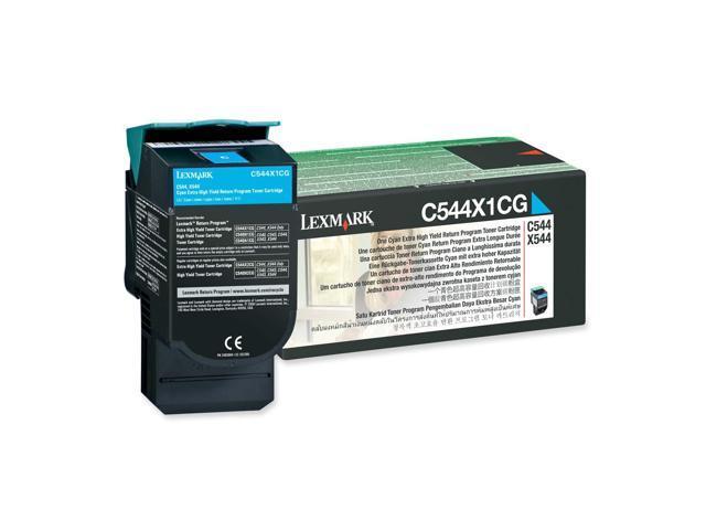 LEXMARK C544X1CG C544, X544 Extra High Yield Return Program Toner Cartridge Cyan
