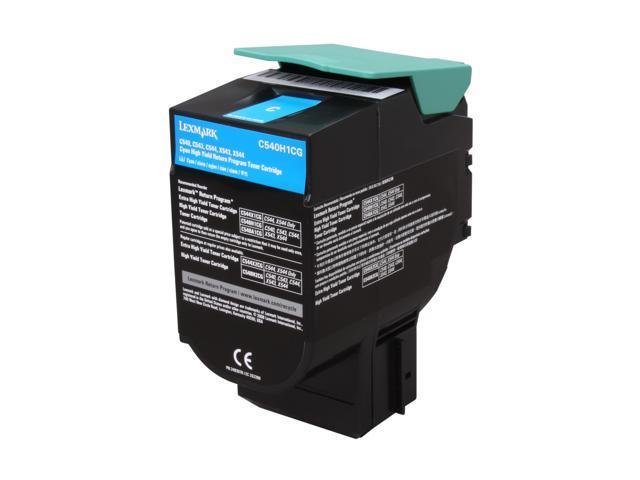 LEXMARK C540H1CG C540, C543, C544, X543, X544 High Yield Return Program Toner Cartridge Cyan