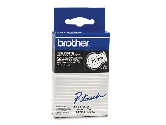 brother TC291 Black on White  9mm Laminated Tape for PT-6/8/10/20/2000/5000