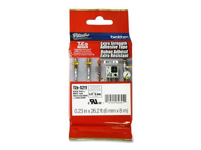 brother TZES211 TZe Extra-Strength Adhesive Laminated Labeling Tape, 1/4w, Black on White
