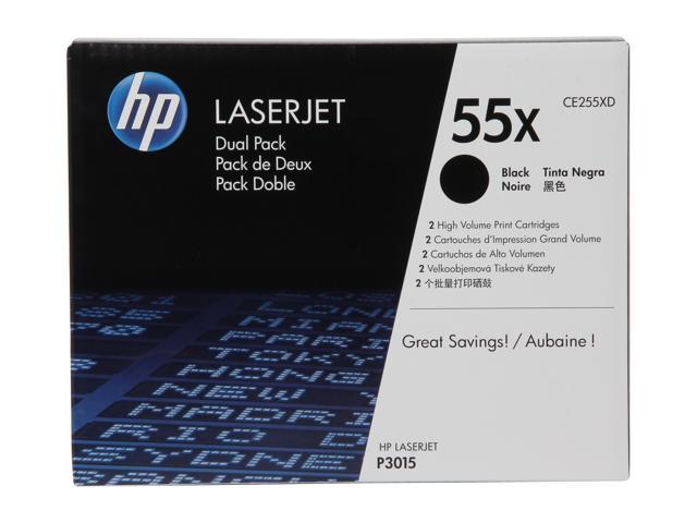 HP 55X Black High Yield 2-Pack LaserJet Toner Cartridges (CE255XD)