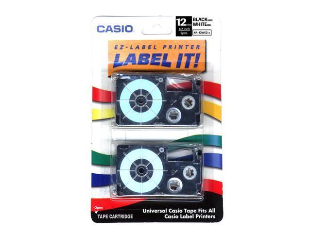 CASIO XR-12WE2S Label Printer Tape 2 Pack Black on White