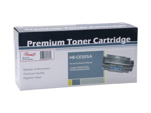 Rosewill RTCA-CE505A Premium Quality Toner Cartridge (replaces HP CE505A, 05A) 2,300 page yield; Black