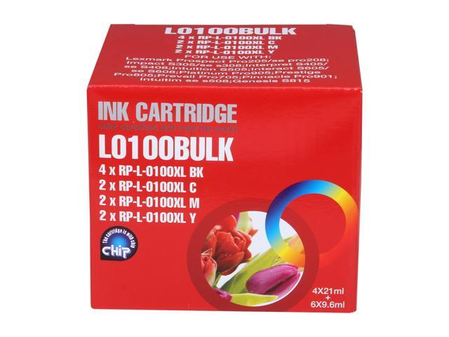 G&G RL-100xl Combo 4 black, 2 for each color (Cyan / Magenta / Yellow) Ink Cartridge