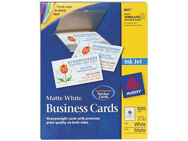 Printable Microperf Business Cards Inkjet 2 x 3 1/2 White Matte 1000/Box