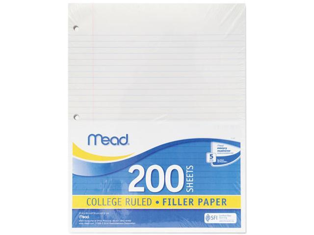Mead 17208 Economical 16-lb. Filler Paper, College Ruled, 11 x 8-1/2, White, 200 Shts/Pk