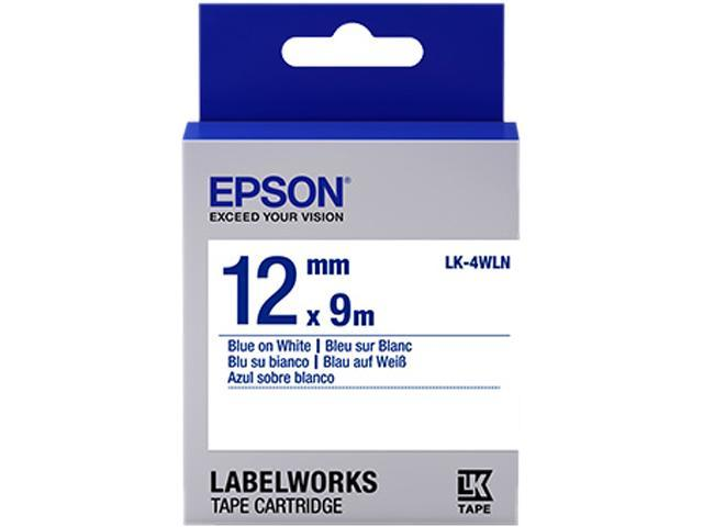Epson LK-4WLN Label Works Labels Stnd Blue/Wht 12Mm Tape Cart