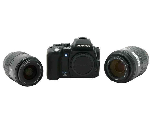 OLYMPUS EVOLT E-500 Black Digital SLR Camera w/ ZUIKO DIGITAL 14-45mm f/3.5-5.6 & ED 40-150mm f/4.0-5.6 Lenses
