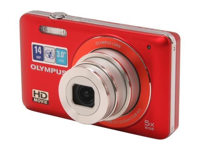 OLYMPUS VG-120 Red 14.0 MP 5X Optical Zoom No Wide Angle Digital Camera