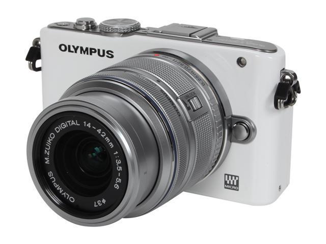 OLYMPUS PEN E-PL3 (V205031WU000) White Interchangeable Lens Type Live View Digital Camera w/14-42mm Lens