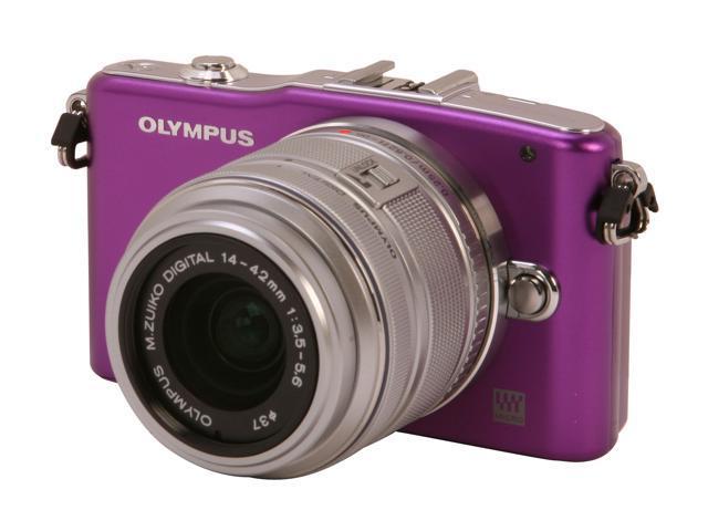 OLYMPUS PEN E-PM1 (V206011VU000) Purple Interchangeable Lens Type Live View Digital Camera w/14-42mm Lens