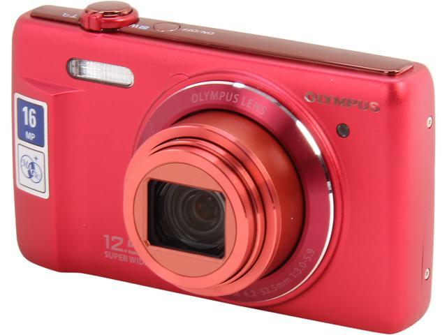 OLYMPUS Stylus VR-370 Red 16 MP 12X Optical Zoom 24mm Wide Angle Digital Camera