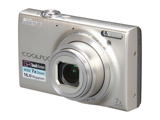 Nikon COOLPIX S6100 Silver 16.0 MP 7X Optical Zoom 28mm Wide Angle Digital Camera