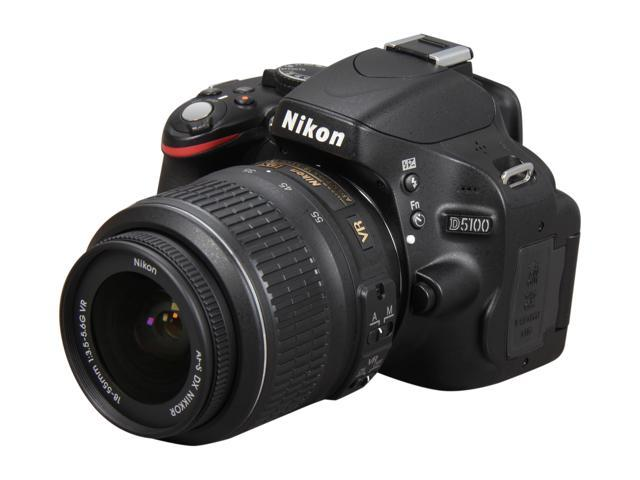 Nikon D5100 Black 16.2 MP  DSLR Camera w/AF-S 18-55mm VR Lens