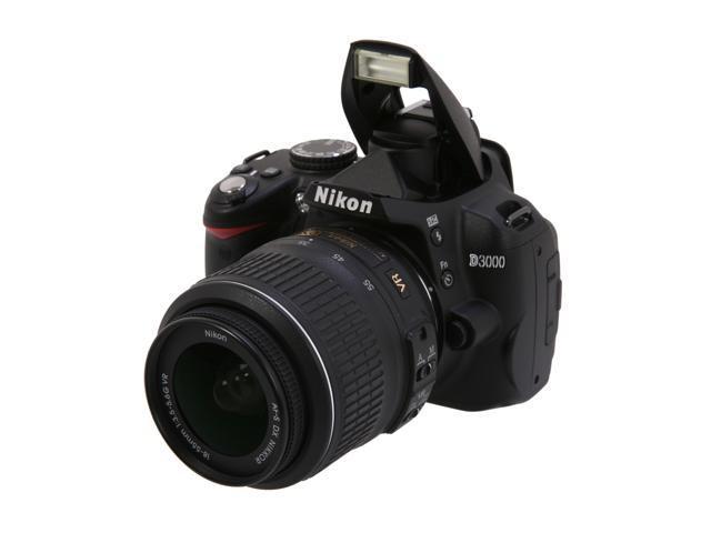 Nikon D3000 Black 10.2 MP Digital SLR Camera w/ 3x 18-55mm Zoom-NIKKOR VR Lens
