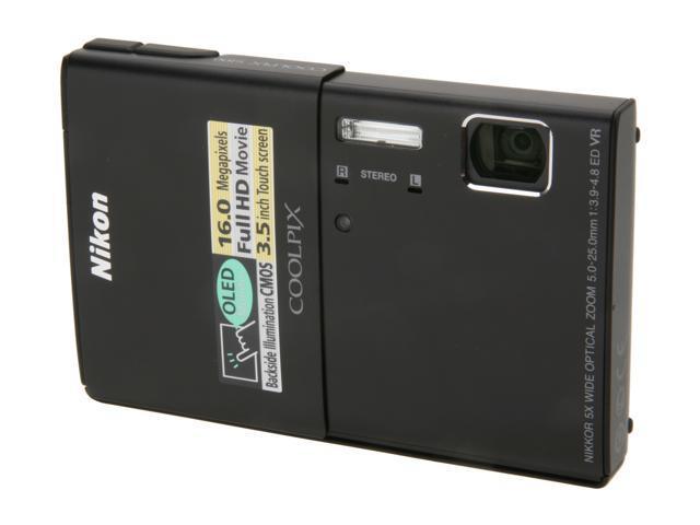 Nikon Coolpix S100 Black 16 MP 5X Optical Zoom 28mm Wide Angle Digital Camera HDTV Output