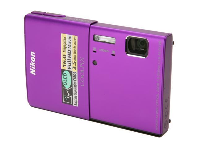 Nikon Coolpix S100 Purple 16 MP 28mm Wide Angle Digital Camera HDTV Output