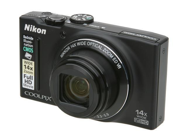 Nikon Coolpix S8200 Black 16.1 MP 25mm Wide Angle Digital Camera