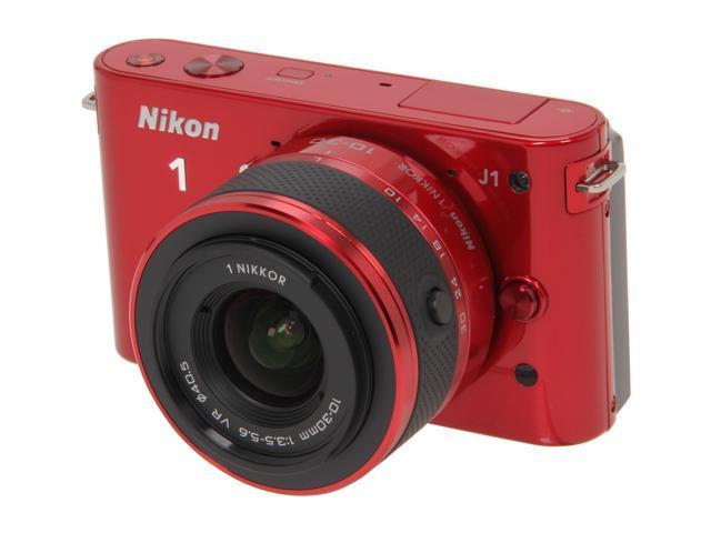 Nikon 1 J1 Red 10.1MP HD Digital Camera System with 10-30mm VR 1 NIKKOR Lens