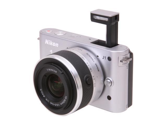 Nikon 1 J1 Silver 10.1MP HD Digital Camera System with 10-30mm VR 1 NIKKOR Lens