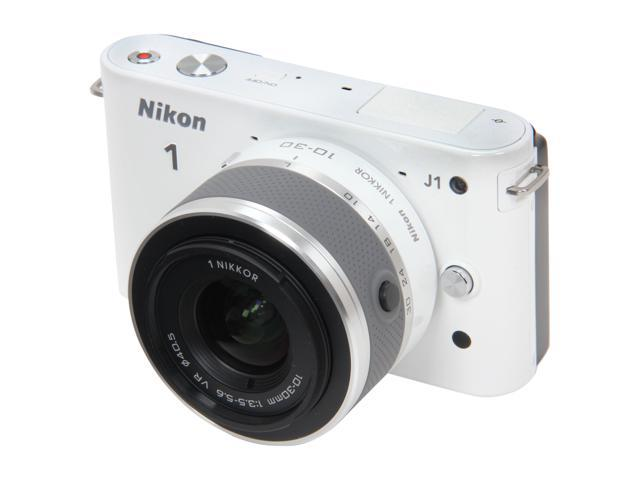 Nikon 1 J1 White 10.1MP HD Digital Camera System with 10mm and 10-30mm VR Zoom Lens