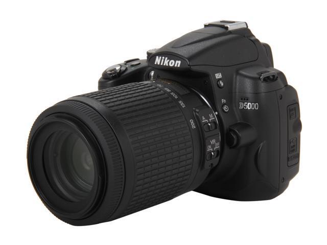 Nikon D5000 Black 12.3 MP Digital SLR Camera w/AF-S DX NIKKOR 55-200mm f/4-5.6G VR Lense
