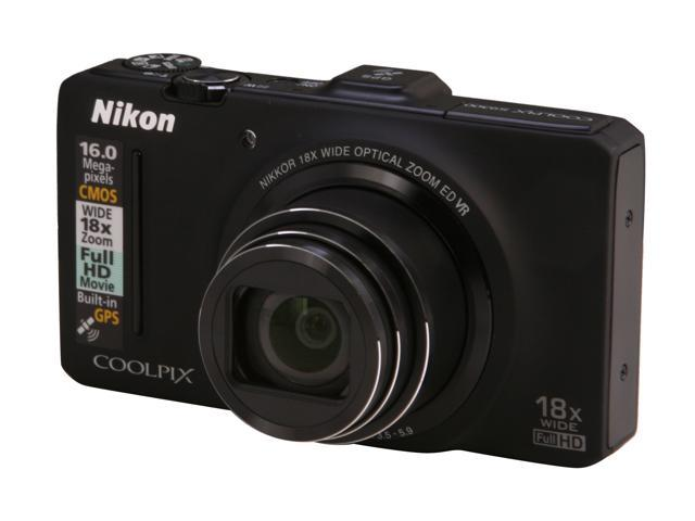 Nikon Coolpix S9300 Black 16 MP 18X Optical Zoom 25mm Wide Angle Digital Camera HDTV Output