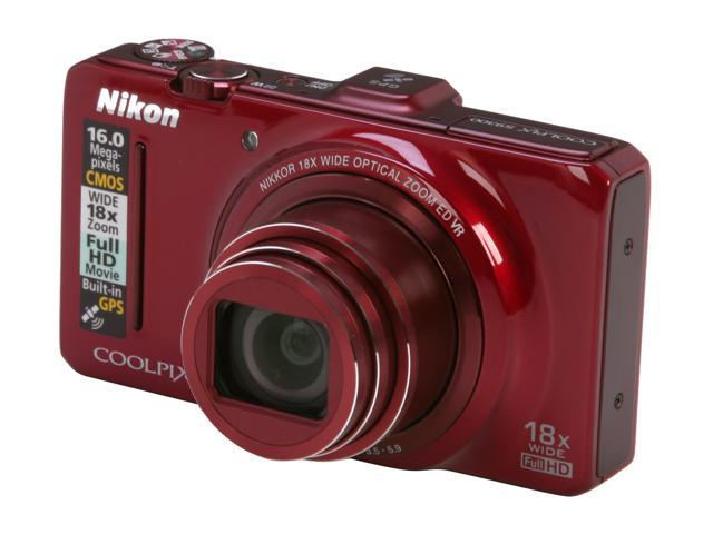 Nikon Coolpix S9300 Red 16 MP 18X Optical Zoom 25mm Wide Angle Digital Camera                                                                                      HDTV Output