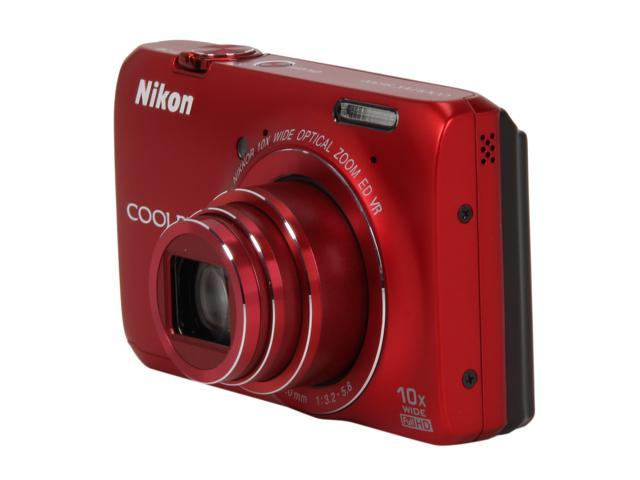 Nikon Coolpix S6300 Red 16MP 25mm Wide Angle Digital Camera HDTV Output