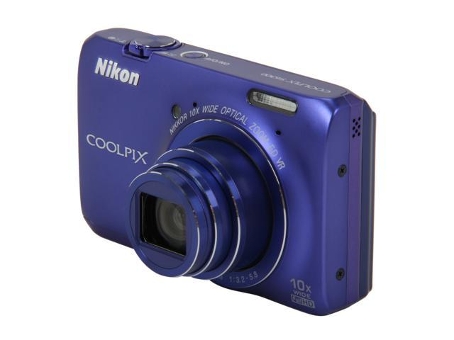 Nikon Coolpix S6300 Blue 16MP 10X Optical Zoom 25mm Wide Angle Digital Camera HDTV Output