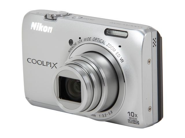 Nikon Coolpix S6300 Silver 16MP 10X Optical Zoom 25mm Wide Angle Digital Camera HDTV Output