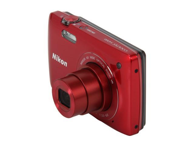 Nikon Coolpix S4300 Red 16 MP 26mm Wide Angle Digital Camera