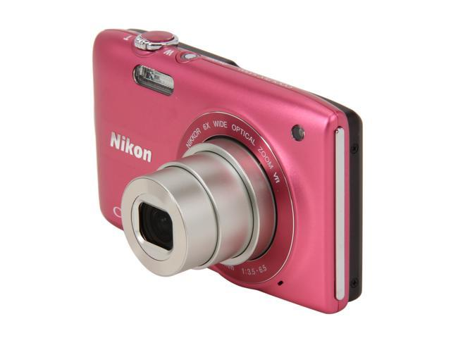 Nikon Coolpix S3300 Pink 16MP 6X Optical Zoom 26mm Wide Angle Digital Camera