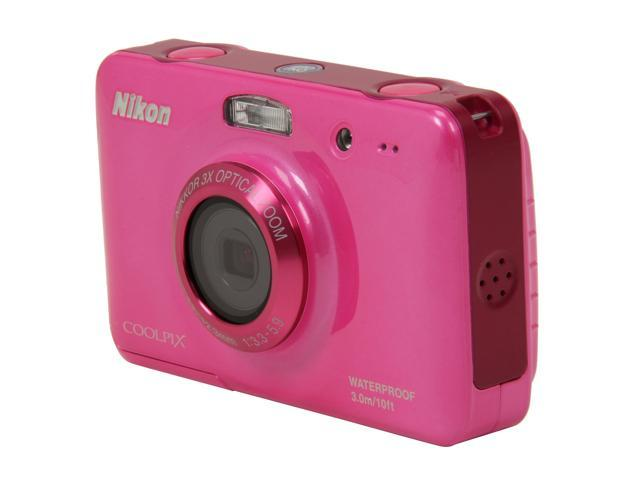 Nikon Coolpix S30 Pink 10.1 MP 3X Optical Zoom Waterproof Shockproof Wide Angle Digital Camera