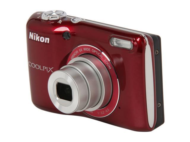 Nikon Coolpix L26 Red 16.1 MP 5X Optical Zoom Wide Angle Digital Camera