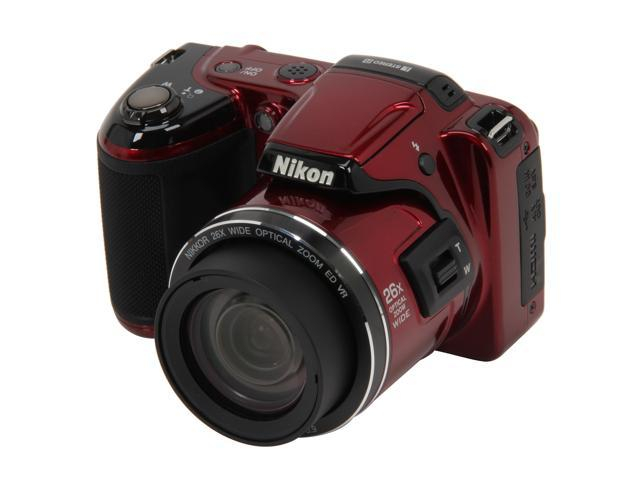 Nikon Coolpix L810 Red 16.1 MP 26X Optical Zoom Wide Angle Digital Camera HDTV Output
