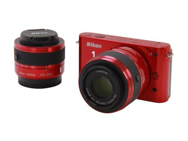 Nikon 1 J1 (27553) Red Compact Mirrorless System Camera w/10-30mm VR & 30-110mm Lenses