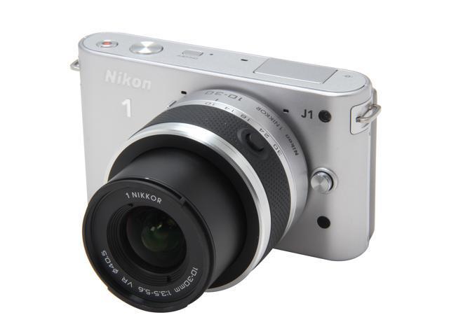 Nikon 1 J1 (27551) Silver Compact Mirrorless System Camera w/10-30mm VR & 30-110mm Lenses