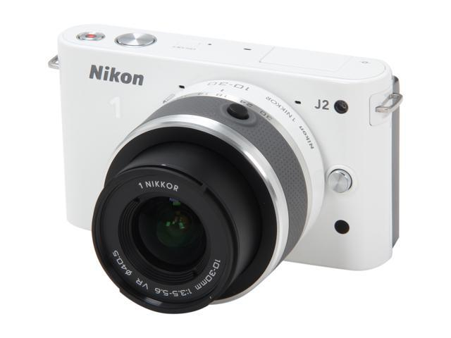 Nikon 1 J2 (27573) White Mirrorless Camera w/10-30mm VR Lens