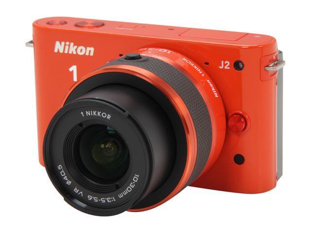 Nikon 1 J2 (27589) Orange Mirrorless Camera w/10-30mm & 30-110mm VR Lenses