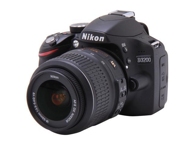Nikon D3200 Black Digital SLR with 18-55mm f/3.5-5.6 AF-S DX VR NIKKOR Zoom Lens