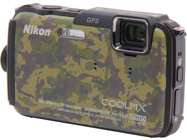 Nikon COOLPIX AW110 Camouflage 16 MP 5X Optical Zoom Waterproof Shockproof Wide Angle Digital Camera