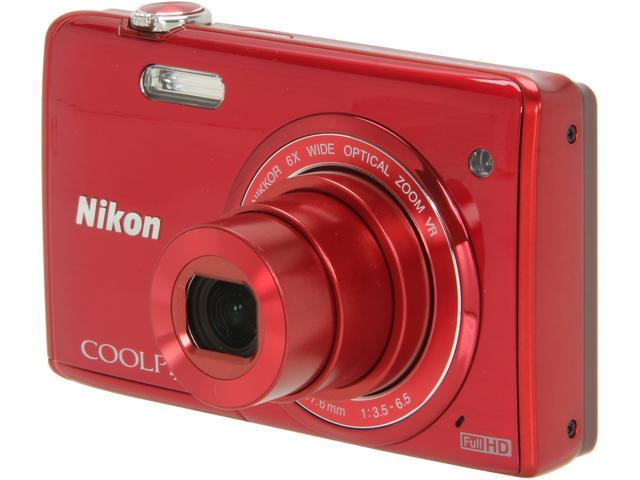 Nikon COOLPIX S5200 Red 16 MP 6X Optical Zoom Wide Angle Digital Camera