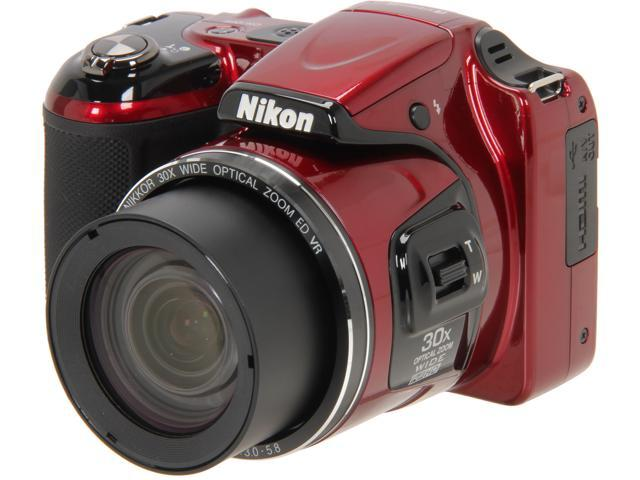 Nikon COOLPIX L820 Red 16 MP 30X Optical Zoom Wide Angle Digital Camera