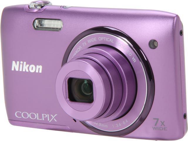 Nikon COOLPIX S3500 Purple 20.1 MP 7X Optical Zoom 26mm Wide Angle Digital Camera
