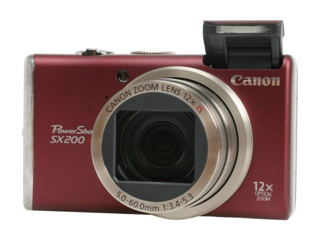Canon PowerShot SX200 IS Red 12.1 MP 12X Optical Zoom 28mm Wide Angle Digital Camera