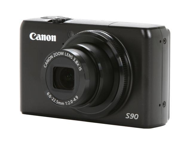 Canon PowerShot S90 Black 10.0 MP 3.8X Optical Zoom 28mm Wide Angle Digital Camera