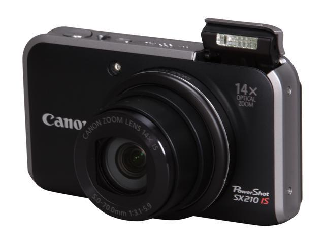 Canon PowerShot SX210 IS Black 14.1 MP 14X Optical Zoom 28mm Wide Angle Digital Camera