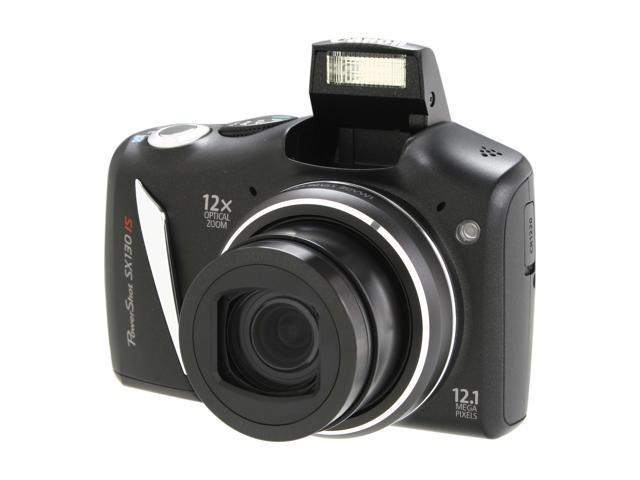 Canon SX130 IS Black 12.1 MP 28mm Wide Angle Digital Camera