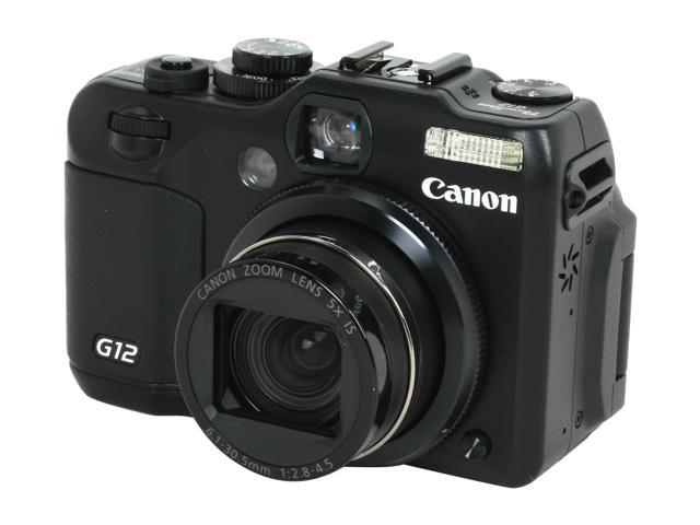Canon PowerShot G12 Black 10.0 MP 5X Optical Zoom 28mm Wide Angle Digital Camera HDTV Output
